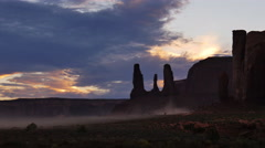 4K Monument Valley Sunset 07 Three Sisters USA Stock Footage