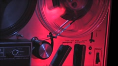 Tape recorder-reel to reel-18 CU right side take up reel and switches Stock Footage