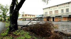 Hilo damage building flood prevention tropical storm Iselle  Big Island - stock footage