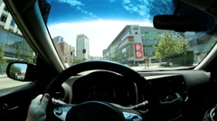 POV driving downtown commuter city road traffic USA - stock footage