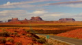 4K Monument Valley Sunset 08 Highway Footage