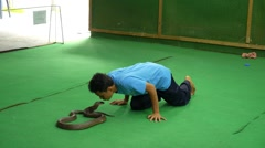 Snake Trainer Kissing Poisonous King Cobra  Stock Footage