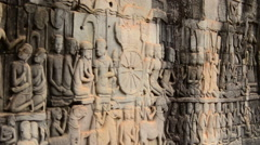 Stone Carving of Buddha's at Angkor Wat Temple Cambodia Stock Footage