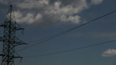 High-voltage wires on the mast sky with clouds Stock Footage