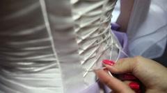 Lace corset bride bridesmaid Stock Footage