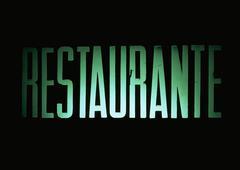 Restaurant typography in Spanish - stock photo