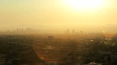 Stock Video Footage of Los Angeles smog downtown Metropolitan city haze sunlight USA