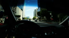 POV traffic driving built structure  land vehicle Urban scene USA - stock footage