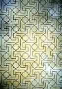White tile with black inlay work, close-up - stock photo