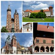 Collage of krakow famous landmarks,listed as unesco cultural heritage Stock Photos