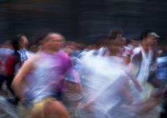 Crowd running race, blurred motion Stock Photos
