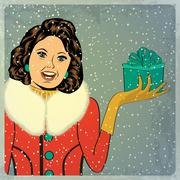 Elegant young and happy woman in winter, retro christmas card Stock Illustration