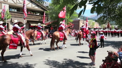 Horseback riders in Canada Day parade Stock Footage
