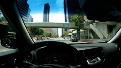 POV driving city streets Skyscrapers Urban district USA - stock footage