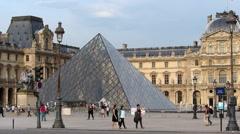 Louvre Museum in Paris Stock Footage