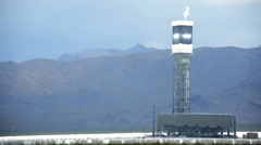 Ivanpah Solar Thermal Power Plant Tower sunlight Mojave Desert USA Stock Footage