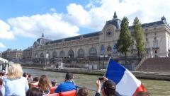 River Seine Cruise In Paris Stock Footage