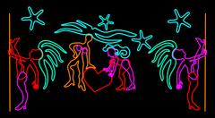 Night club signboard design with neon stylized dancer figures Piirros