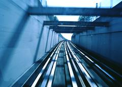 Train tracks, blur - stock photo