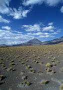 Chile, arid landscape with mountains in distance - stock photo