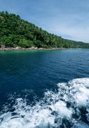 Malaysia, Perhentian Besar Island, wake on water, shoreline Stock Photos