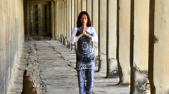 Buddhist Praying / Worshiping at Angkor Wat Temple Cambodia Stock Footage