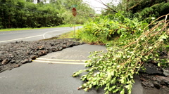 Hurricane Highway damage Hilo area Big Island Hawaii Pacific Ocean Stock Footage