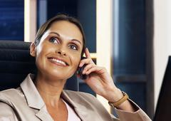 Woman telephoning, portrait Stock Photos