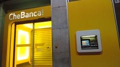 """CheBanca!"" Italian Bank office in Catania city. Stock Footage"