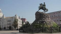 The monument to Bogdan Khmelnitsky,the square of St. Sophia Stock Footage
