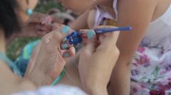 women's hand knit crochet blue thread - stock footage