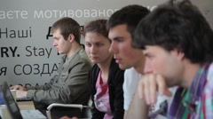 Students in the class are sitting at computers.(computer, internet, social netwo Stock Footage