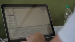 Programming on the laptop screen.(computer, internet, social network) Stock Footage