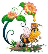 Bee and flowers Stock Illustration