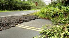 Hurricane Highway damage Hilo Big Island Hawaii Pacific Ocean - stock footage