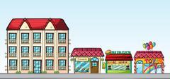 Stores on street Stock Illustration