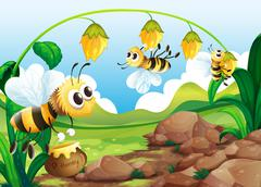 Bee and flowers - stock illustration
