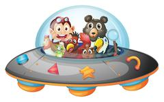 Playful animals inside the saucer Stock Illustration