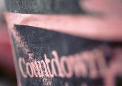 Countdown text, close-up, blurred Stock Photos