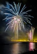 fireworks to celebrate the day of mercy 2014 in barcelona - stock photo