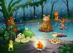 Animal and campfire - stock illustration