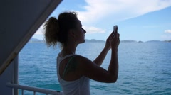 Woman Taking Picture of Sea with Cell Phone. Slow Motion. - stock footage