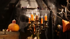 Halloween Candlestick. Candles Fade - stock footage