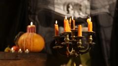 Halloween Candlestick. Set Afire - stock footage