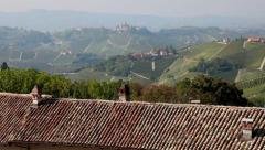 Countryside landscape towns hills in Piedmont Piemonte Italy Italia Stock Footage