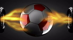 Soccer ball on hologram Stock Footage