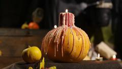 Halloween  pumpkin candle Stock Footage
