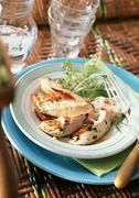 Slices of chicken with tarragon on plate with tableware - stock photo