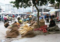 China, Guangxi Autonomous Region, Laibin, broom seller at open-air market - stock photo