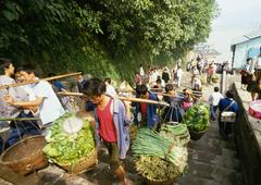China, Sichuan, Chongqing, workers carrying yoked baskets of produce up steps Stock Photos
